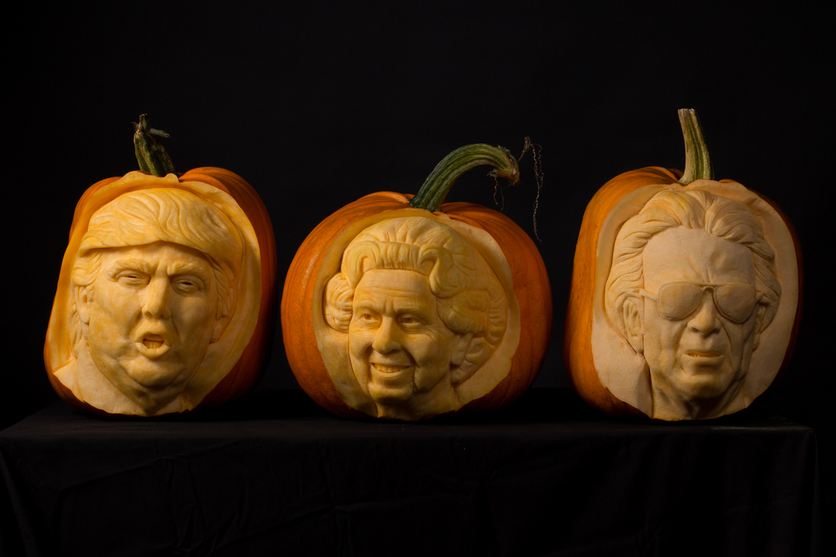 Celebrity Portraits made by professional pumpkin carvers at Sand In Your Eye