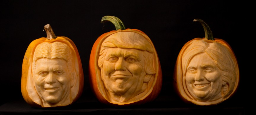 Celebrity pumpkin carving portraits