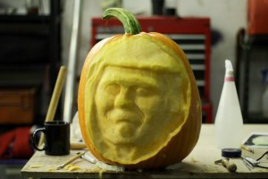 Donald Trump pumpkin carving progresses