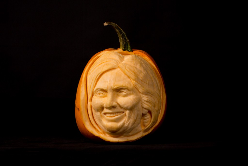 Hilary Clinton pumpkin carving, famous faces
