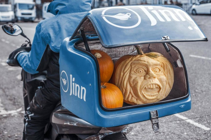 Pumpkin carving photoshoot, Jinn PR stunt London