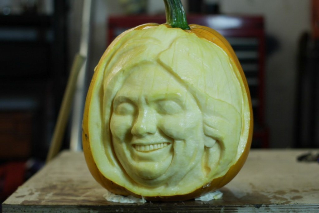 Hilary Clinton pumpkin carving progress