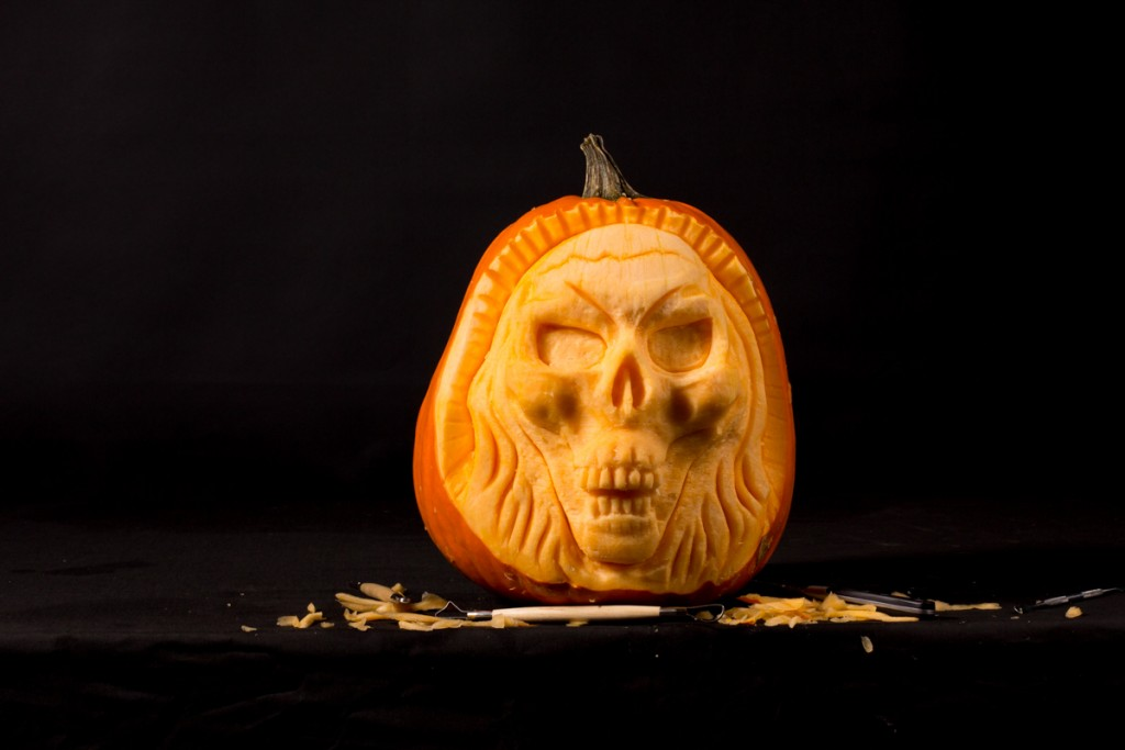 3D Skull pumpkin carving