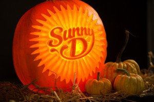 Sunny D pumpkin carving created and photographed in our Bradford workshop