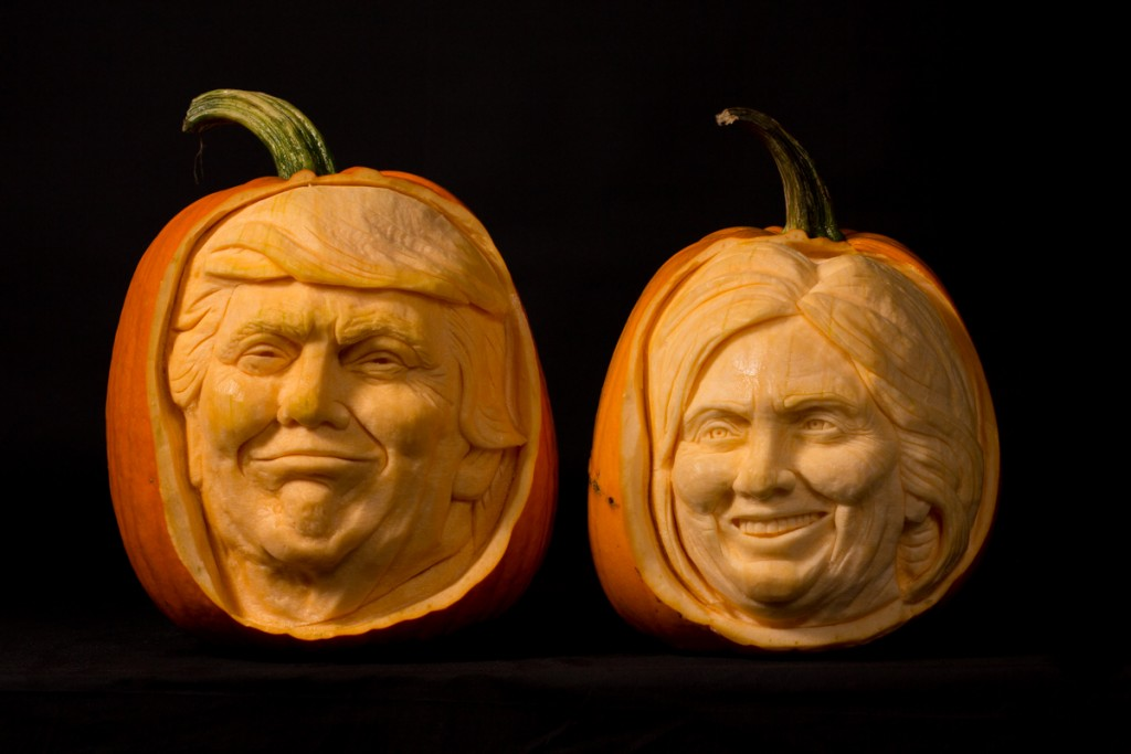 Trump and Clinton election pumpkin carving