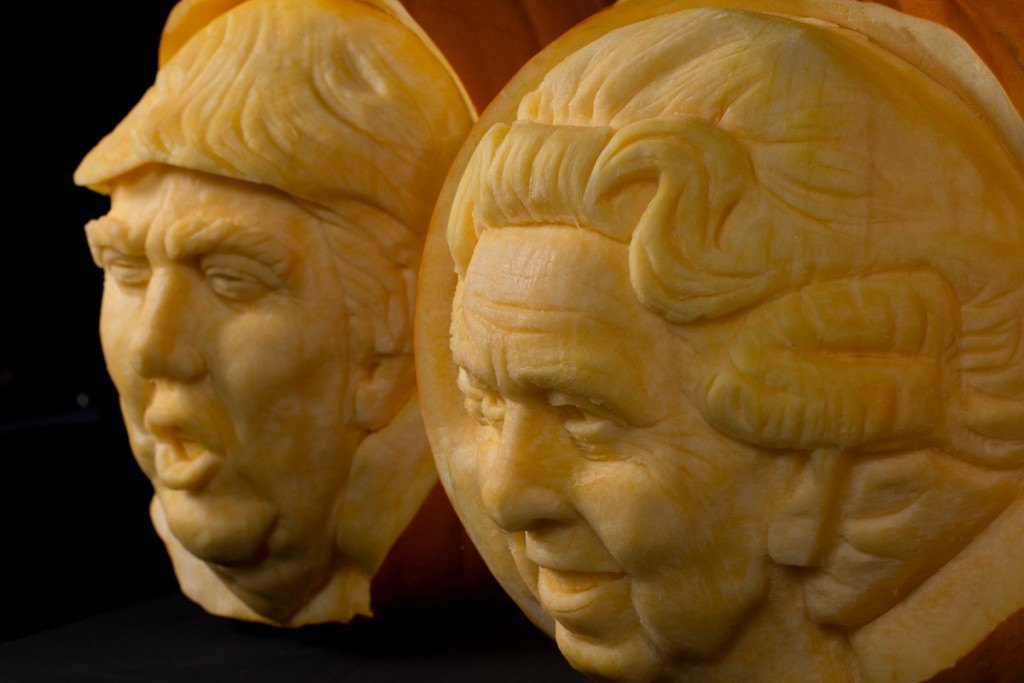 Trump and the Queen of England pumpkin carvings UK