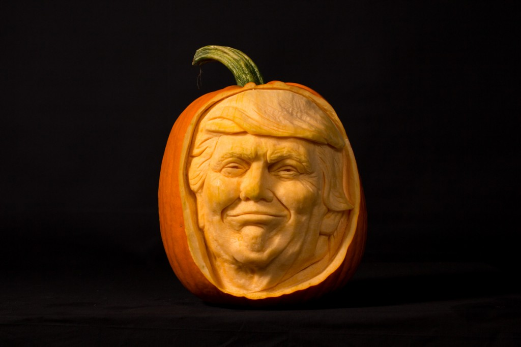 Pumpkin carver, Jamie Wardley creates another celebrity pumpkin carving, Donald Trump