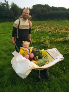 UK pumpkin carver, Jamie Wardley and Floss collect the pumpkins ready to be carved