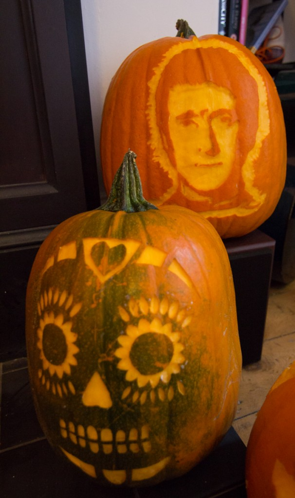 Bradley Wiggins and a Mexican skull from the pumpkin carving workshop