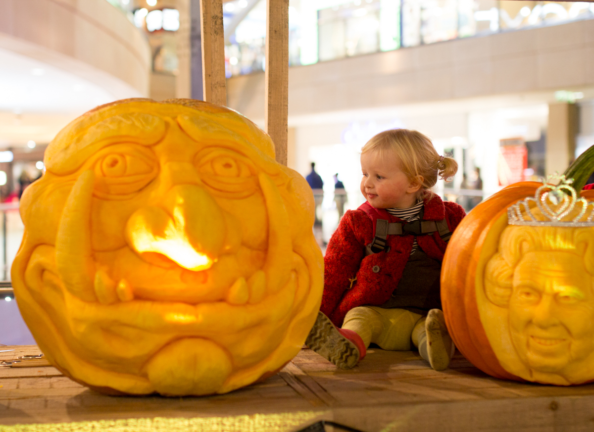 Our big friendly monster....checking out the pumpkins on display at Leeds Trinity shopping centre for Halloween