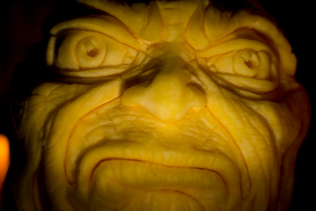 monster scary faces carved from pumpkins