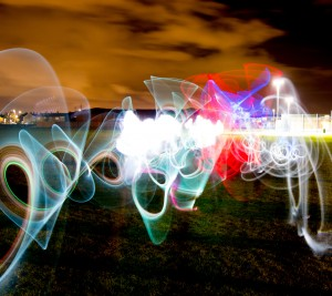 Night photography light painting
