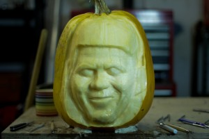 The beginning of the Simon Cowell celebrity pumpkin carving