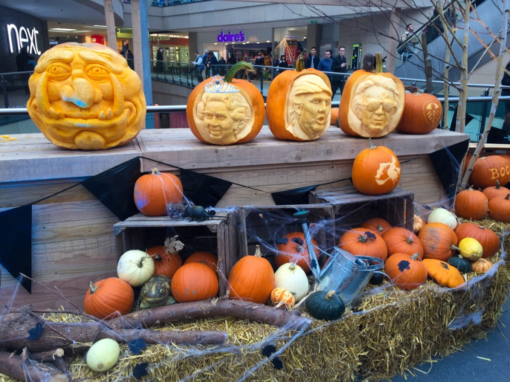 pumpkin carving display for a Halloween event at Leeds Trinity Shopping Centre