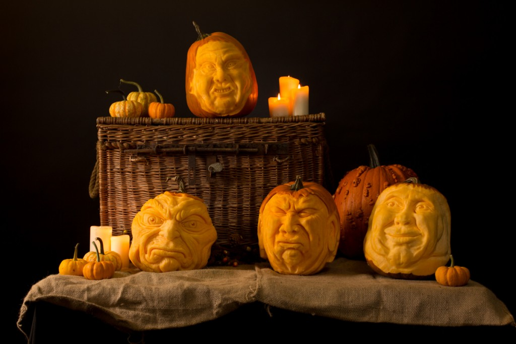 Pumpkin carving display for photoshoots
