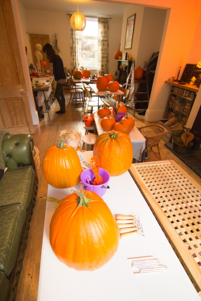 pumpkin carving workshop party set up