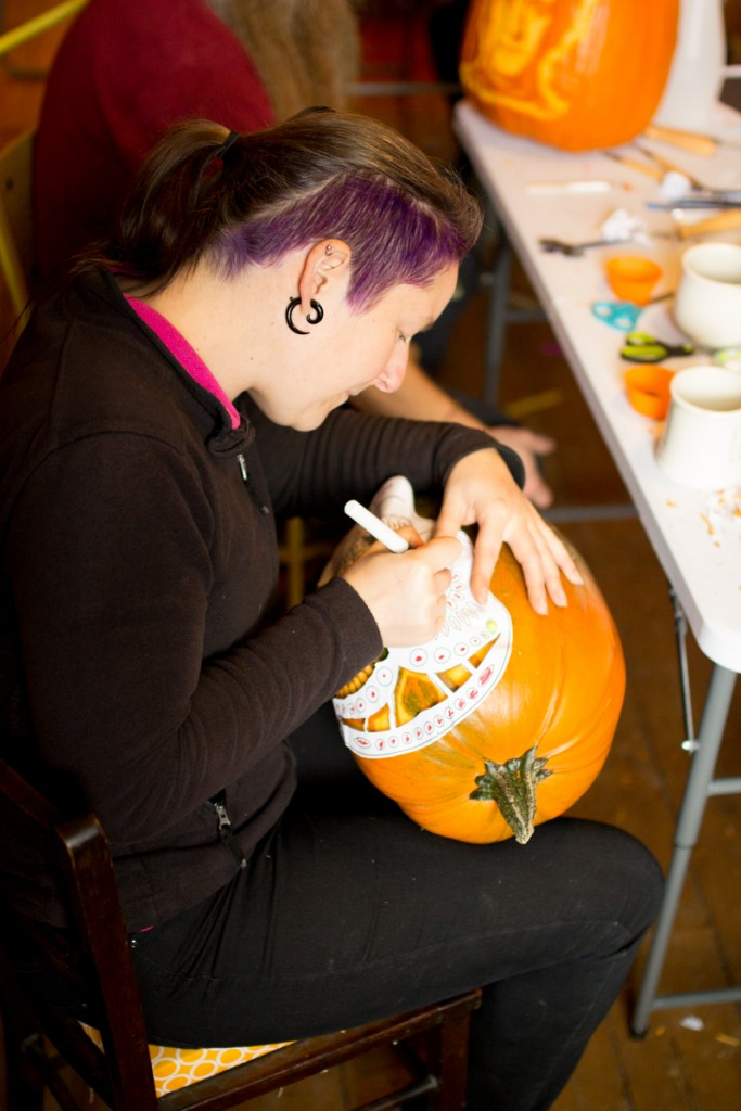 Pumpkin carving workshop, day of the dead skull stencil