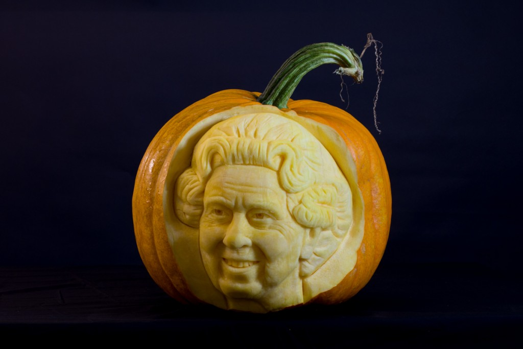 Queen of England made by professional pumpkin carvers at Sand In Your Eye