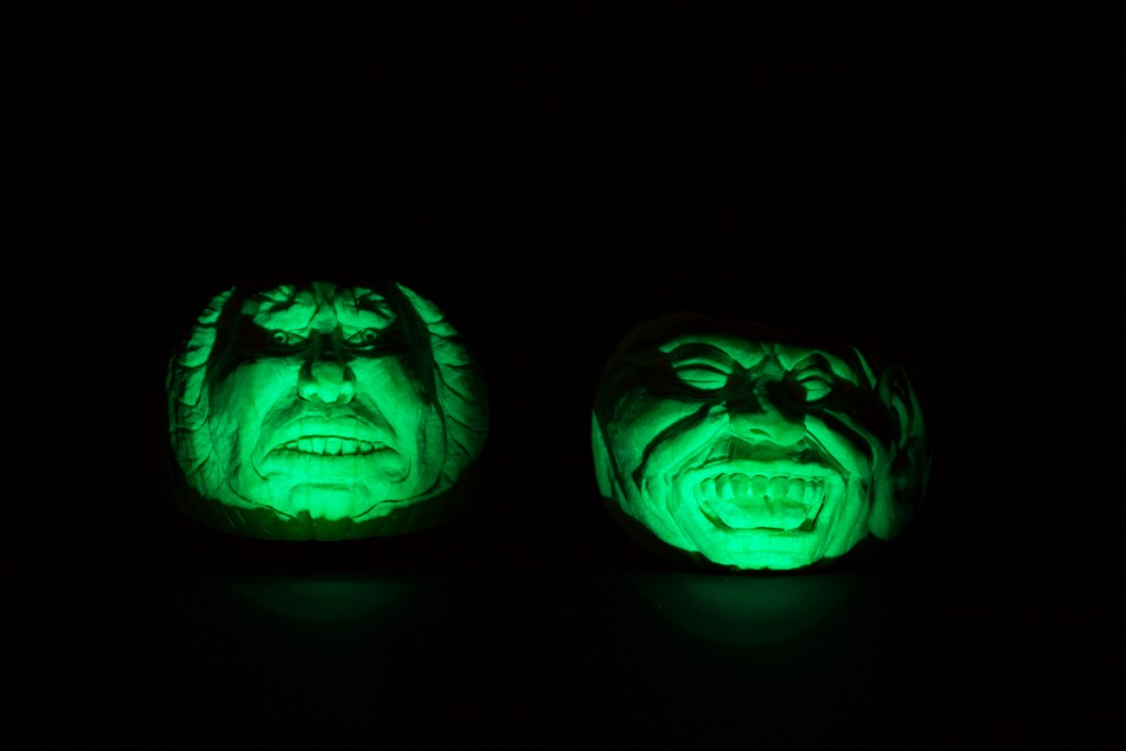 Scary faces carved into pumpkins