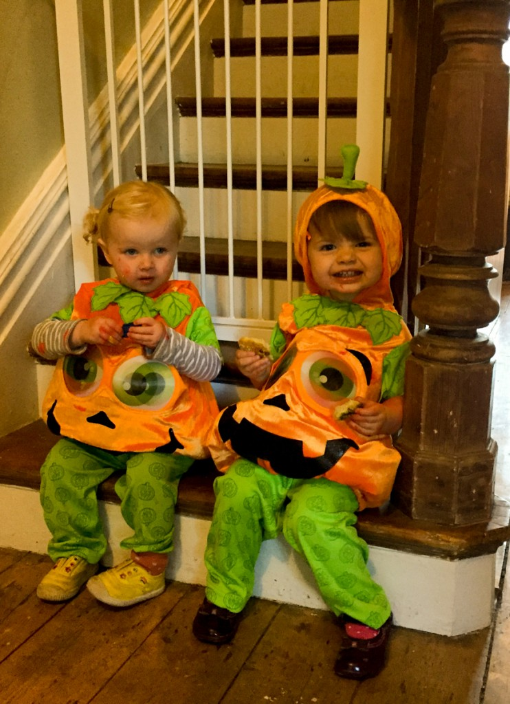 Snack break for the little pumpkins