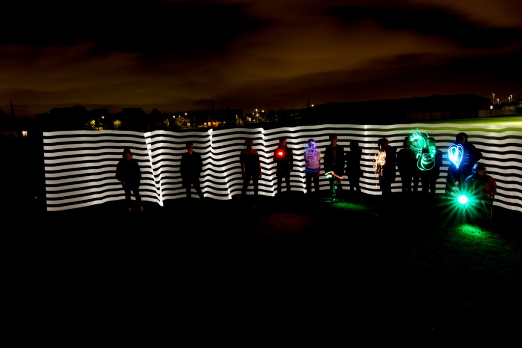 team building with light art