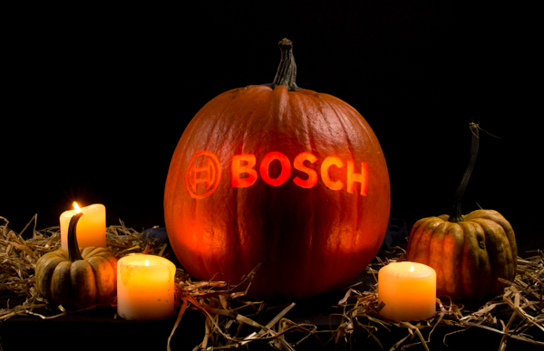 Bosch logo carved into a pumpkin