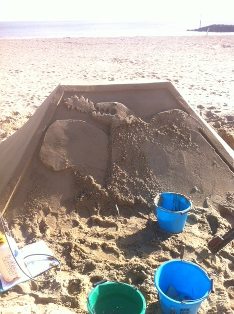 building the sand sculpture