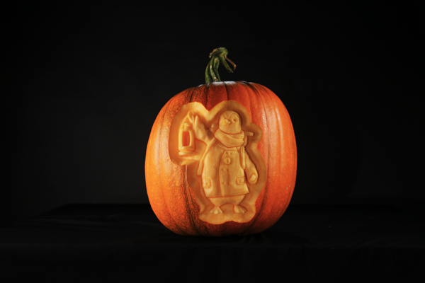 Wilber the British Gas penguin carved in pumpkin
