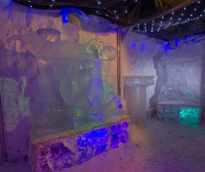 The ice sculptures on display in the ice bar