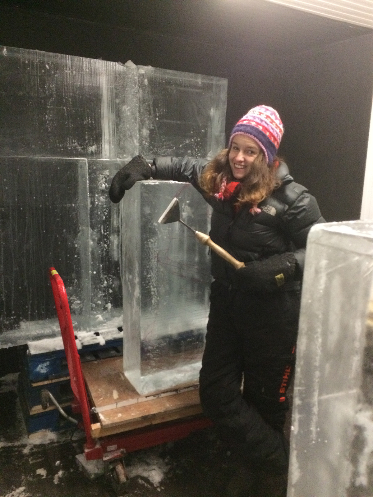 Claire busy in the freezer stacking the ice