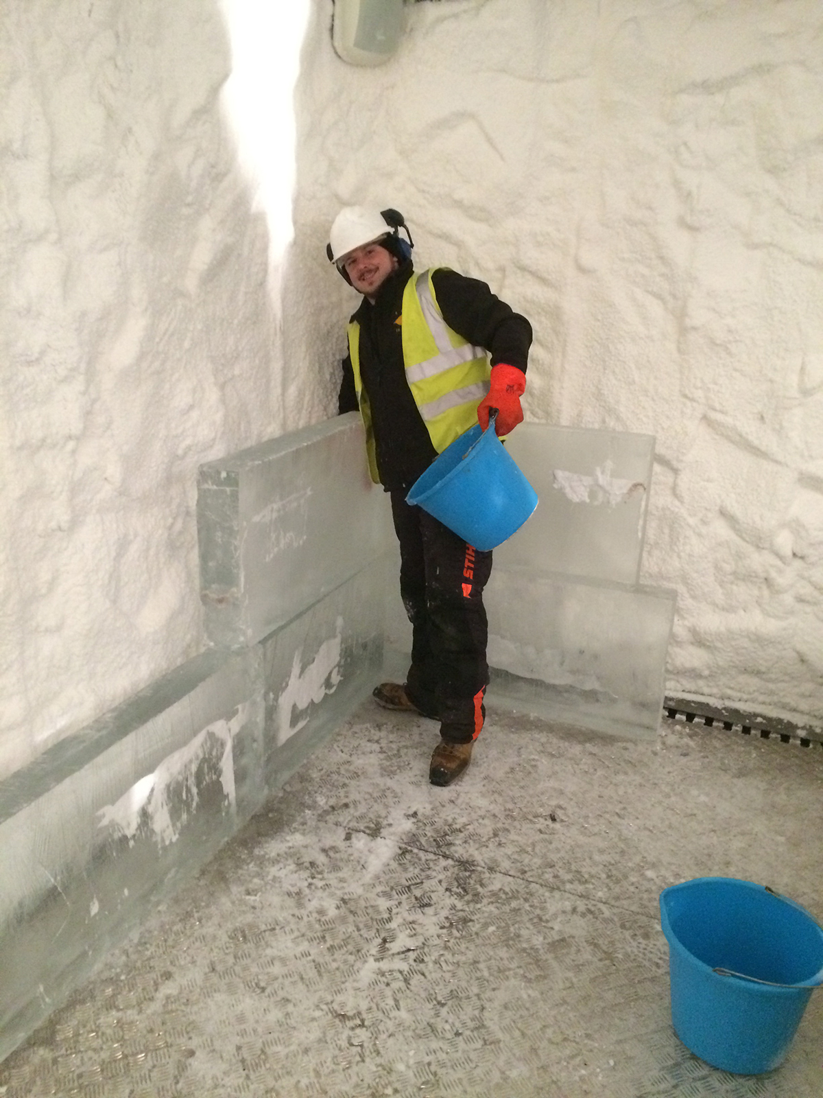 James making the ice wall