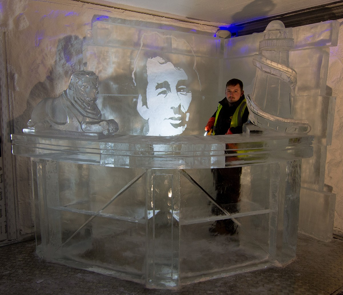 Drinks ice luge