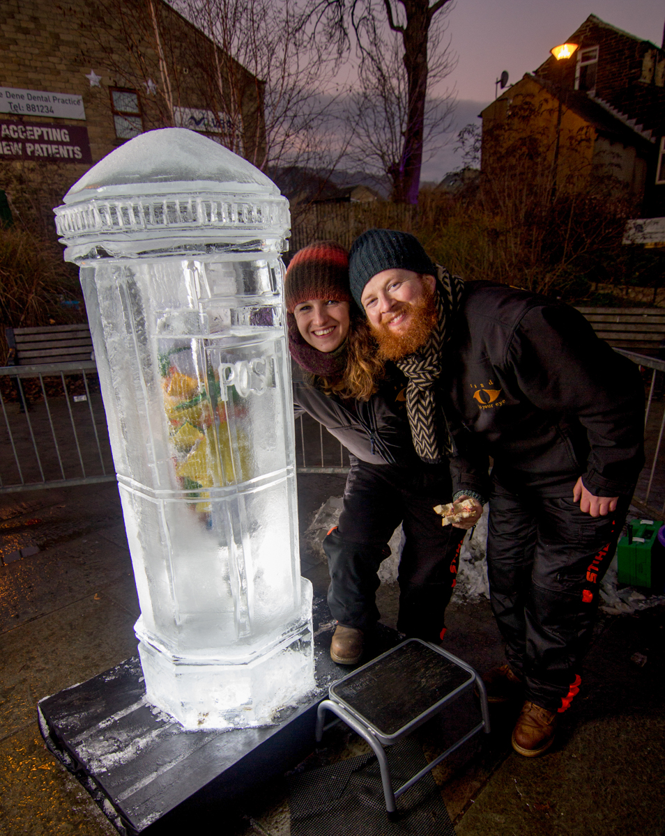 Posing with Claire and the ice sculpture