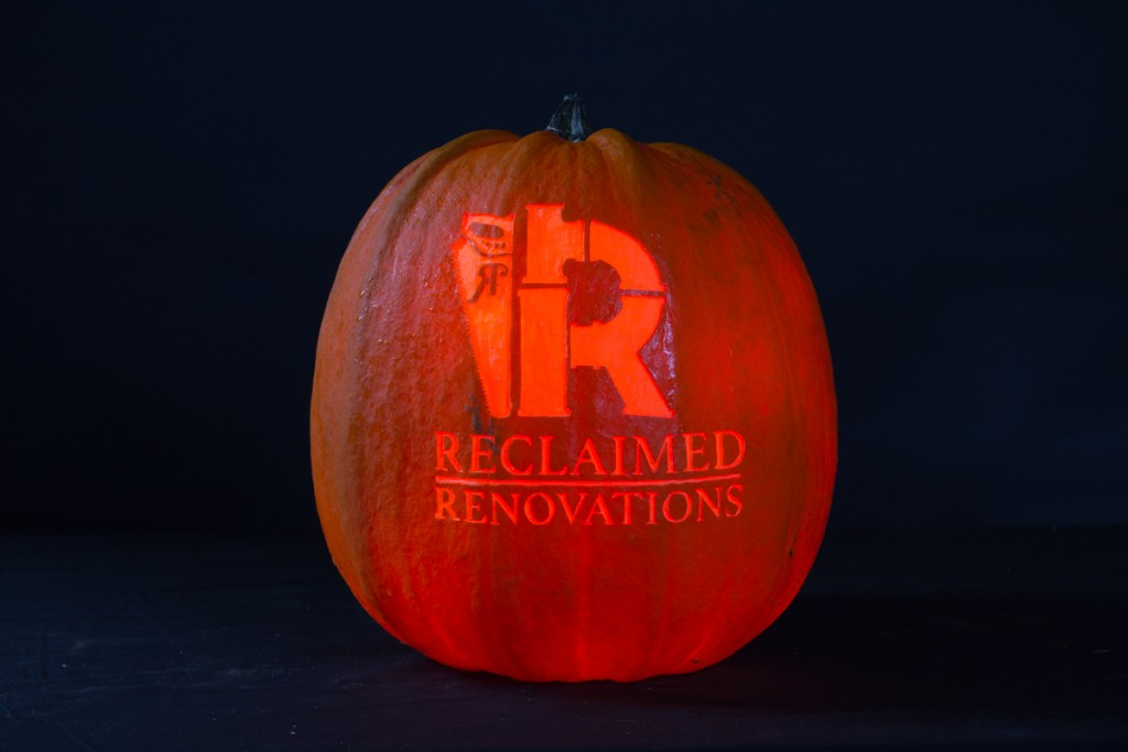 Reclaimed Renovations logo, pumpkin carving