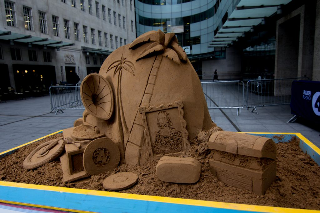 Pop Up table top sand sculpture for the BBC