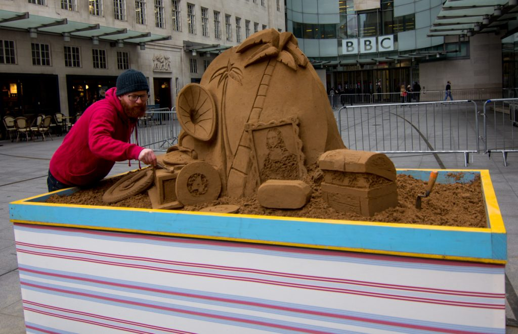 Pop up sand sculpture created by Sand In Your Eye at BBC London