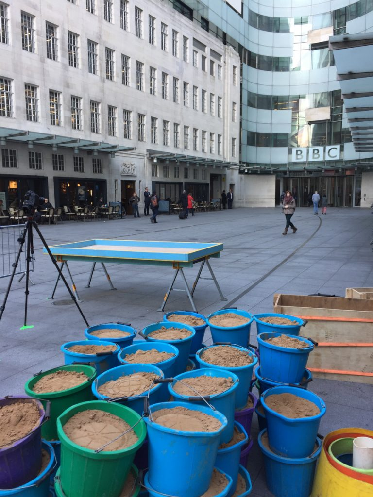 Pop up sand sculpture, BBC Broadcasting House