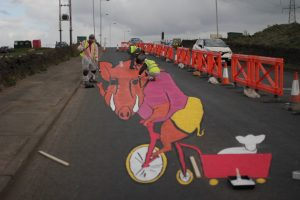 This piece of urban road art is by Keelham Farm, Bradford for Le Tour Yorkshire