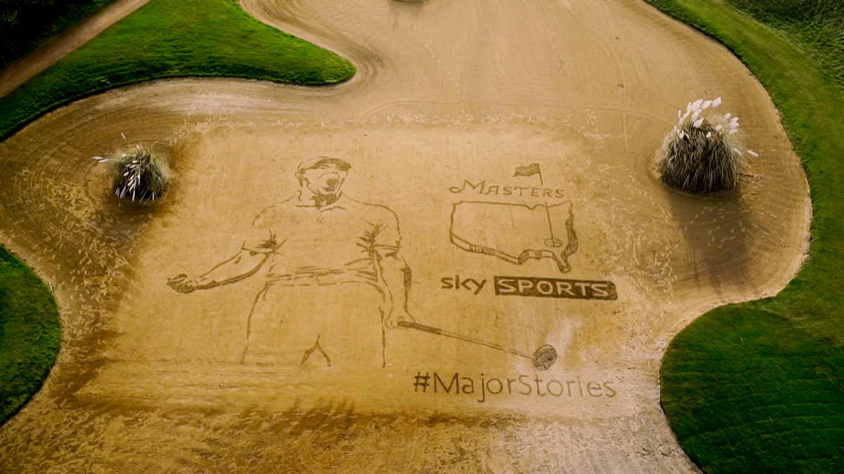 Bunker Drawing sand art for Sky Sports