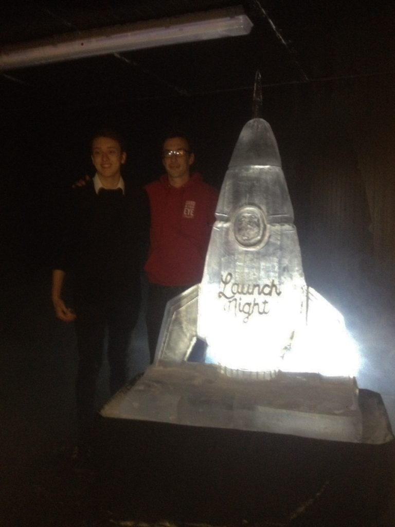 Launch night ice sculpture, Tom and Harry