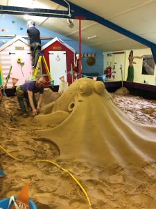 Our huge indoor sand pit for sand sculpture workshops