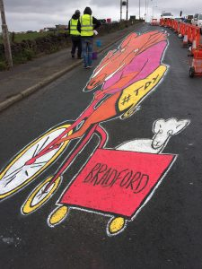 Jamie and Tom make the finishing touches to the Tour De Yorkshire Land Art