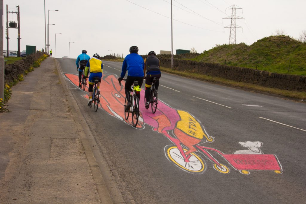 Cyclists pass our land art for Tour De Yorkshire