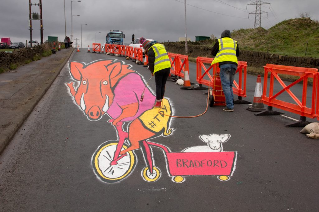Anamorphic Land Art for Tour De Yorkshire
