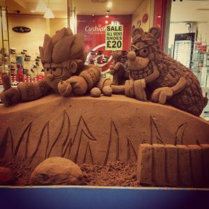 shopping centre events summer sand sculpture dennis the menace
