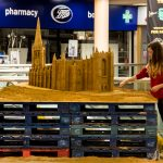 shopping centre sand sculpture event wakefield artist claire jamieson