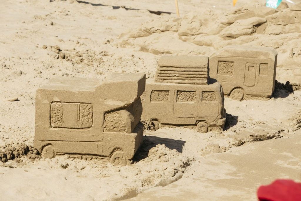 campervan camping caravanning club sand sculptures uk