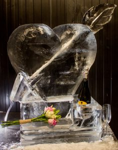 wedding ice sculpture prosecco luge