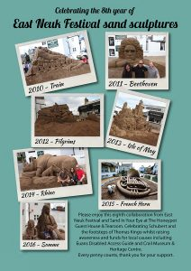 Sand sculptures East Neuk Festival and Sand In Your Eye