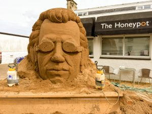 day 2 sand sculpture progress scotland